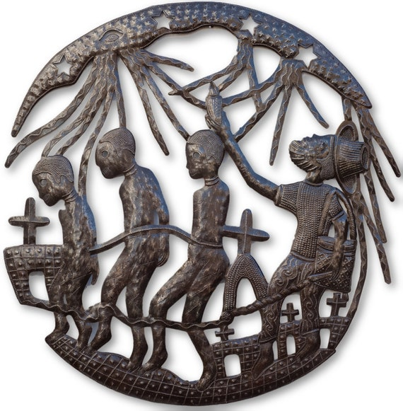 Traditional Voodoo Dance, Haitian Religious Sculpture, Limited Edition 23x23