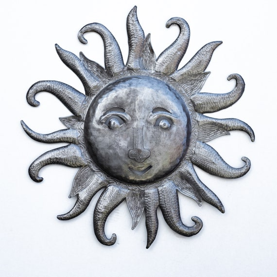 Southern Sun, Decorative Backyard Patio Artwork, Handcrafted in Haiti From Recycled Metal, One-of-a-Kind 22x23