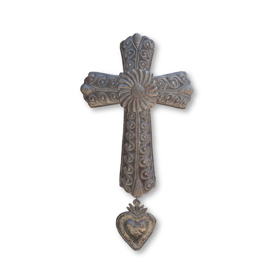 Unique Flower Cross with Milagro Handcrafted in Haiti From Recycled Metal, 17x9