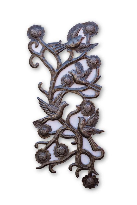 Bird Vine, Quality Haitian Metal Garden Decor, One-of-a-Kind Sculpture 19x8