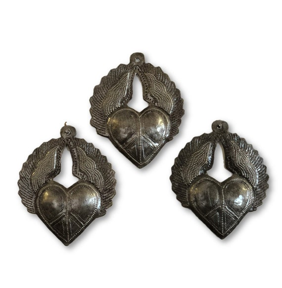 "Mini Milagro Metal Hearts (set of 3), Peace Sign engraved, Handmade in Haiti 3.5"" x 4"""