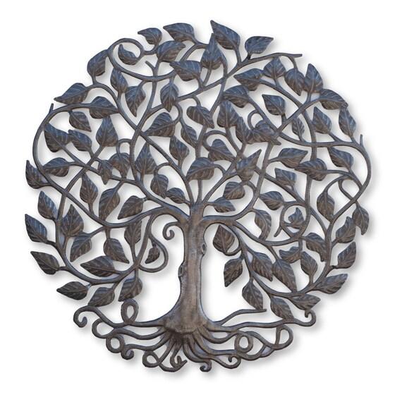 Leafy Tree of Life, One-of-a-Kind Handmade Home Decor, Fair Trade Art 34x34