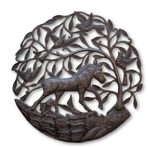 Jumping in the Sea, Quality Haitian Metal Sculpture, One-of-a-Kind 23x23.5