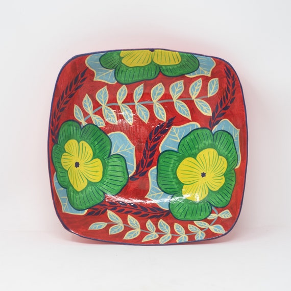 """Square Bowl with Green & Yellow Flowers, Limited Edition Paper Mache Art 9.25""""x9.25"""""""