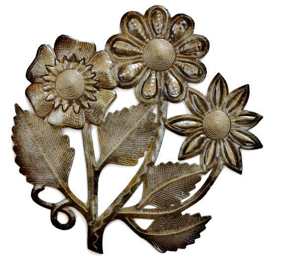 """Flowers for your Wall, Fair Trade Haiti Metal Art, Recycled Metal Barrel 13"""" x 13"""""""
