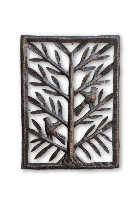 "Small Garden Tree of life with birds, Hang indoor or outdoor, Metal Wall Art Fair Trade 11.5"" X 15.5"""