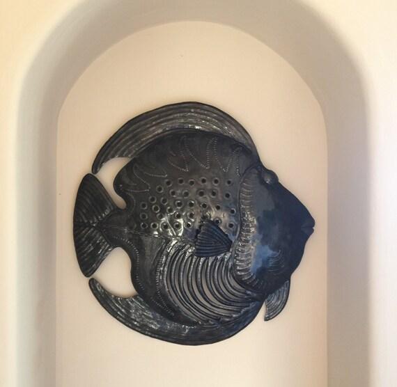 """Fish Underwater, Haitian Metal Art Indoor and Outdoor 23"""" X 23"""""""