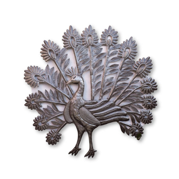 Haitian Metal Art, Peacock Handmade From Recycled Metal, One-of-a-Kind Fair Trade 22x22in.