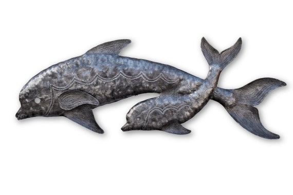 """Momma & Baby Dolphins, Sealife, Reclaimed Metal Art from Haiti, Quality Craftsmanship 8"""" x 22.5"""""""