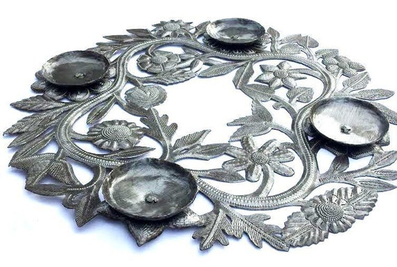 "Advent Wreath or Center Piece for your Table, made in Haiti of Recycled Metal 15"" x 15"""