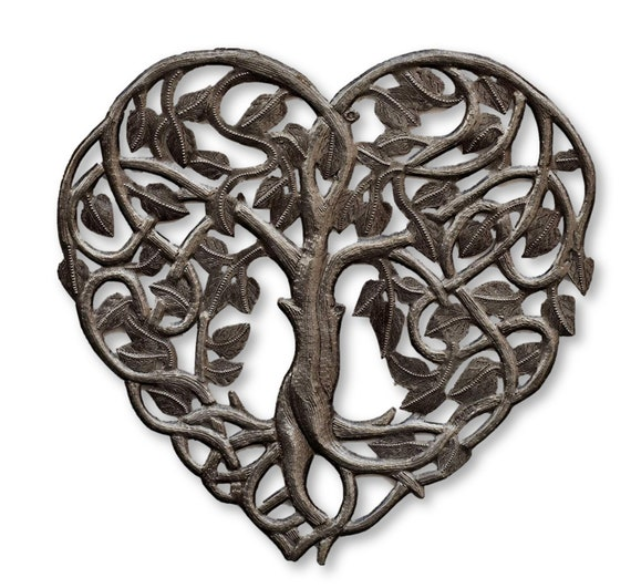 Heart Shaped Tree of Life Handcrafted in Haiti for Indoor Outdoor Home Decor, Haitian Wall Hanging Plaques 14.25x14.25