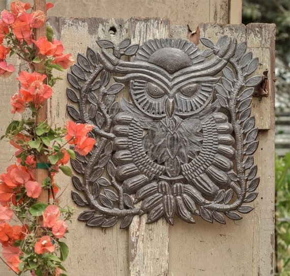 "Inspiring & Unique Metal Owl, decorative design for indoor and outdoor, Novelty Gift, handmade by artisans in Haiti 17""x 17.5"""