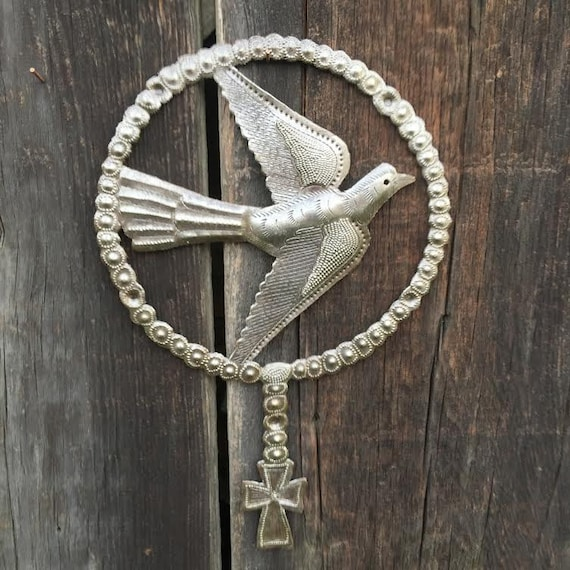 "Small Metal Bird with Cross, Decorative Wall Plaque, Spring Garden Decor, Handmade in Haiti 7.25"" X 11.25"""