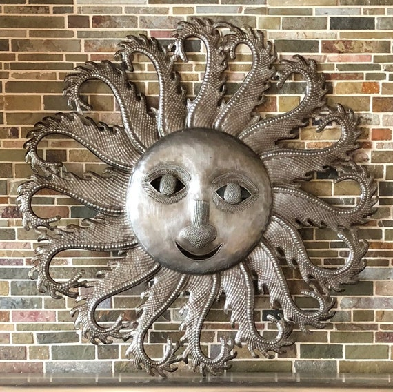 Sun, Farmhouse Decor, Flaming Rays, Metal Wall Art, Decorative Home Decor, Handmade in Haiti, 22.5x22.5