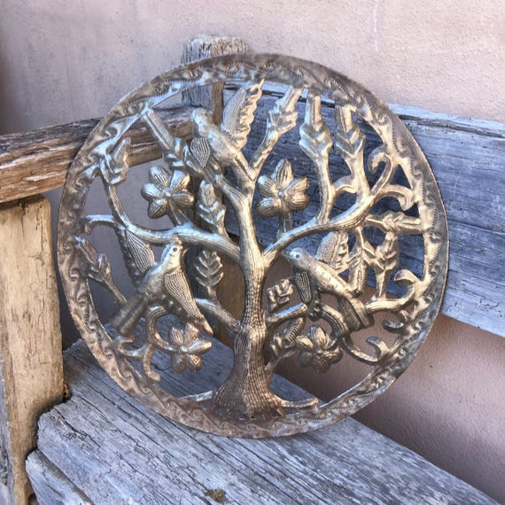 "Tree of Life, Haitian Garden Tree with Birds Recycled Metal Steel Barrel 15"" x 15"""