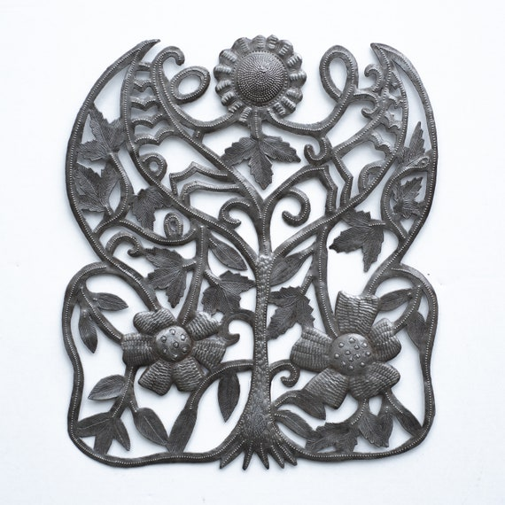 Flower Bush Handcrafted in Haiti From Recycled Metal, One-of-a-Kind 15x17.25