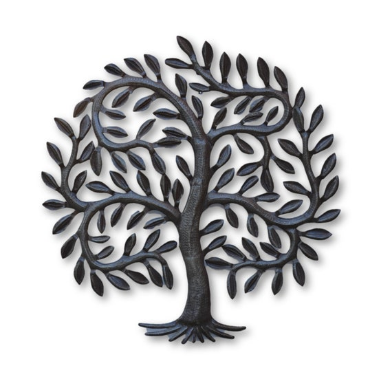 Leafy Tree of Life, Quality Haitian Metal Sculpture, One-of-a-Kind Handmade Art 21.5x20.5