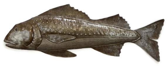 "Handmade Fish Under Water, Haiti Metal Art, Beach Home Living Decor  22"" x 8.75"""