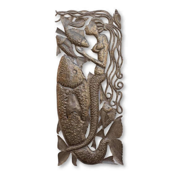 Mermaid Riding Fish Handcrafted in Haiti, One-of-a-Kind Recycled Art, 34x15