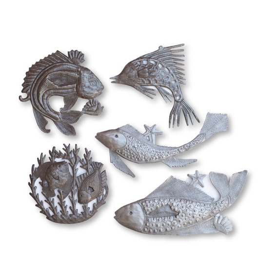 Fish Fair, One-of-a-Kind Nautical Themed Recycled Metal Sculptures, Fair Trade