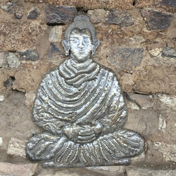 "Metal Buddha, Unique Wall Hanging Art, Handmade in Haiti, Eco-friendly gift 13.5"" x 17"""