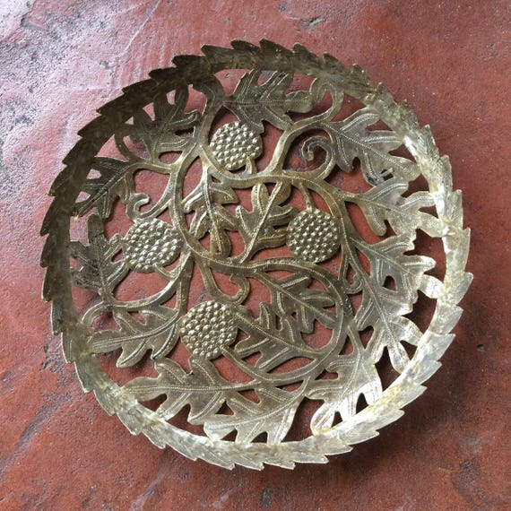 "Haiti Bread Fruit Tree, Metal Tray or  Bowl 20"" x 20"" x 1"""