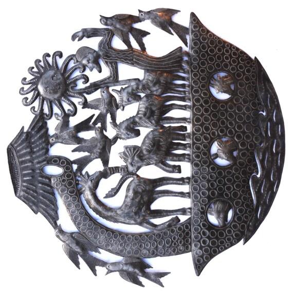 """Noah's Ark Wall Sculpture, Metal Wall Art, Fair trade from Haiti, 23"""" X 23"""""""