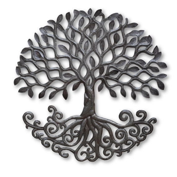 Tree of Life w/ Roots, Handcrafted Haitian Sculpture, Wall Plaque Decor Modern rustic home decor, Novelty Gift,  24 x 23.5