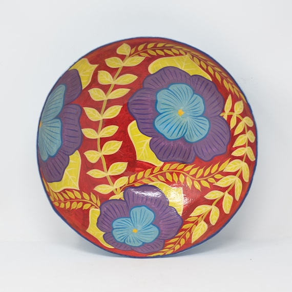 """Circle Bowl with Blue & Purple Flowers, Limited Edition Paper Mache Bowl 9.25""""x9.25"""""""