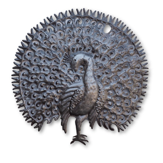 Peacock, Handmade Haitian Metal Bird Sculpture, One-of-a-Kind 22x21.5