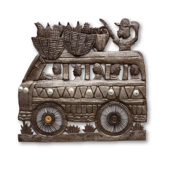 Passenger Van, Quality Haitian Metal Sculpture, One-of-a-Kind Art 18.5x17.5