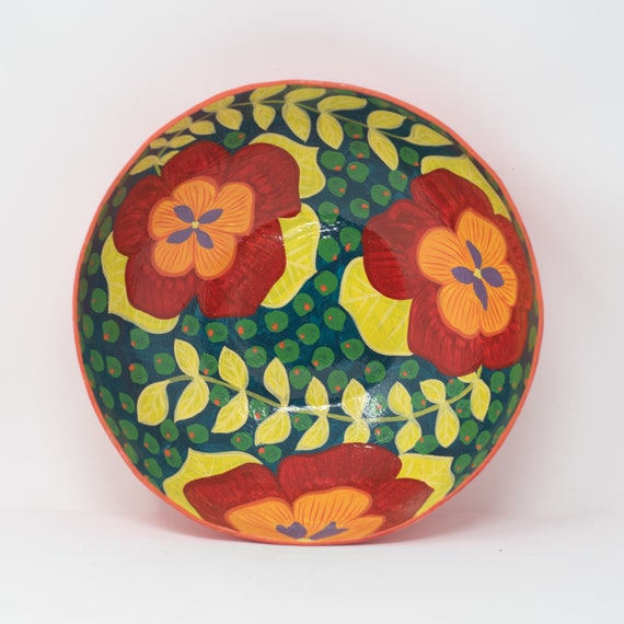 """Circle Bowl with Red & Orange Flowers, Limited Edition Paper Mache Bowl 9.25""""x9.25"""""""