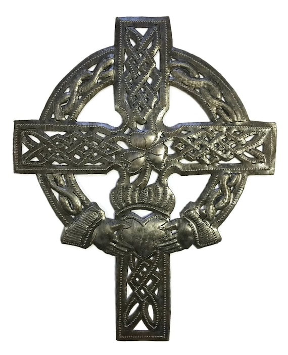 "Celtic Cross, Small Metal Religious Wall Art, Gift Giving, Eco-friendly  7.25"" x 9"""