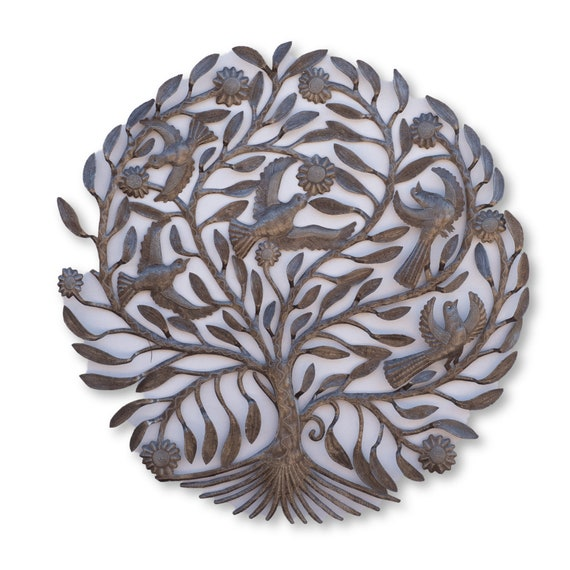 Bird Tree of Life, One-of-a-Kind Haitian Oil Barrel Sculpture, Fair Trade 34x34