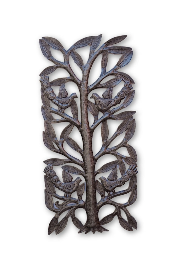 Tall Tree w/ Birds, Beautifully Handcrafted Haitian Sculpture, One-of-a-Kind 17 x 8