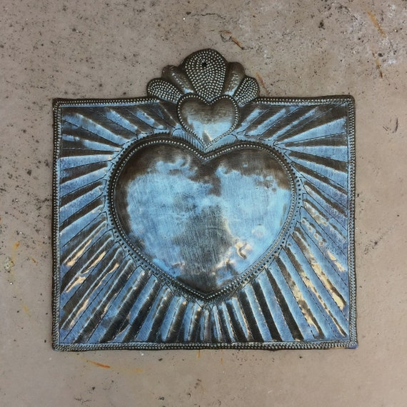 "Squared Milagro Heart, Handmade in Haiti from recycled oil drums, Metal Wall Art, Fair Trade 9"" x 9"""