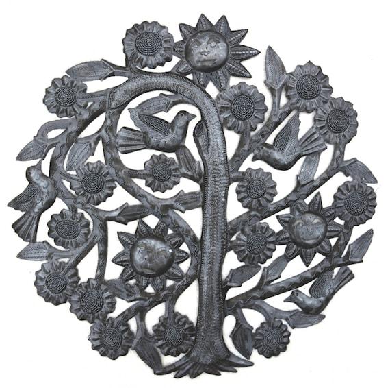 "Tree of Life, Joyful Garden Tree, Recycled Metal Wall Art, Haiti 15"" X 15"""