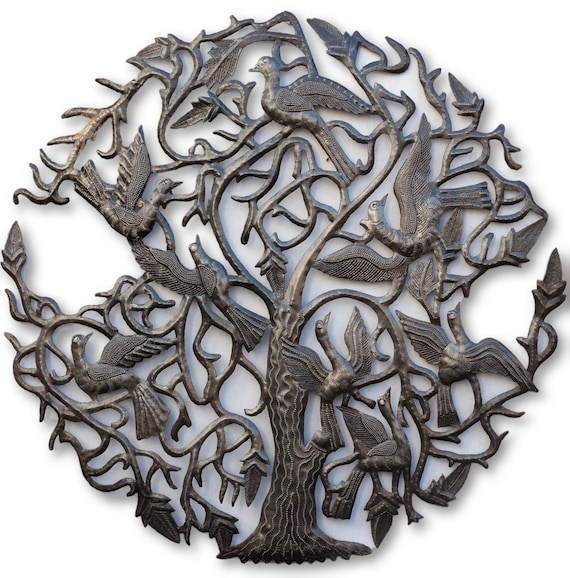 Tree of Life with Long Winged Birds, Unique Haitian Garden Decor, 24x23