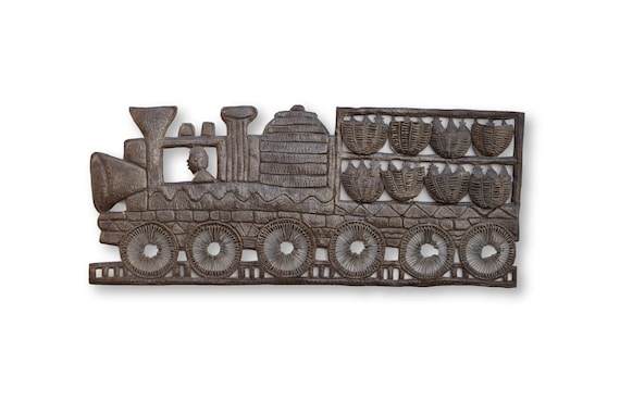 Train with Merchandise Traveling Through Haiti, One-of-a-Kind Art 34x15
