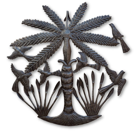 Island Palm Tree, Metal Wall Decor, Quality Haitian Metal Art, One-of-a-Kind 22.5x22.5