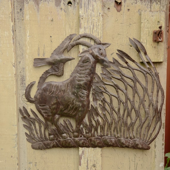 Goat in the Jungle, Tropical Wall Hanging Sculptures, Wild Life Plaques, Handmade in Haiti,  Limited Edition 19x23