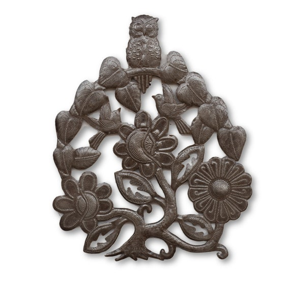 Owl Flower Tree, Handcrafted Haitian Reclaimed Metal Art, One-of-a-Kind 16x13.5
