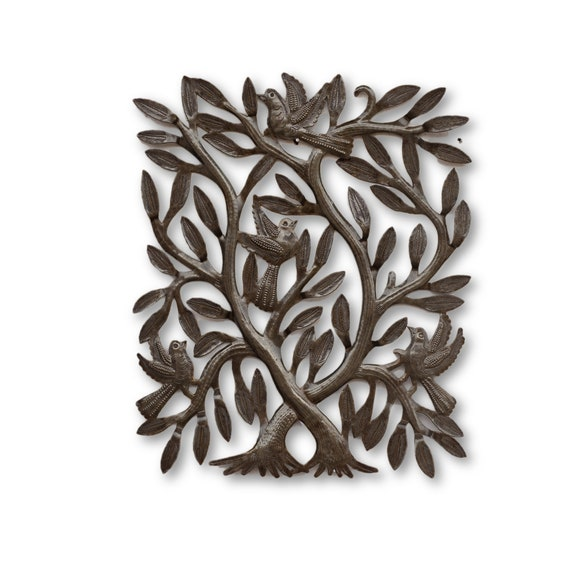 Square Tree, Quality Haitian Metal Sculpture, One-of-a-Kind Tree of Life 12x14