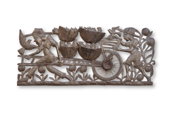 Chicken Farmers in Haiti, One-of-a-Kind Recycled Metal Sculpture, 35x15