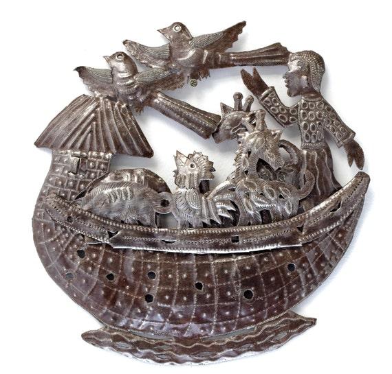 """Noah's Ark Wall Sculpture, Metal Art, Fair trade from Haiti, Novelty Gift 14.5"""" x 14.5"""""""