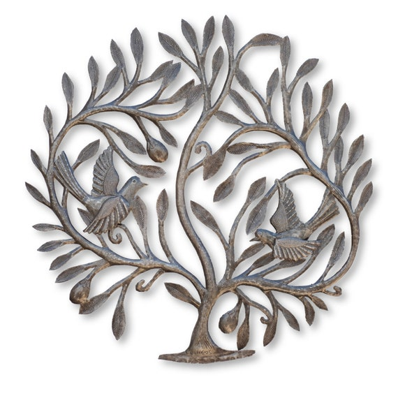 Tree of Love with Birds Handcrafted in Haiti From Recycled Metal, One-of-a-Kind 23x23.5