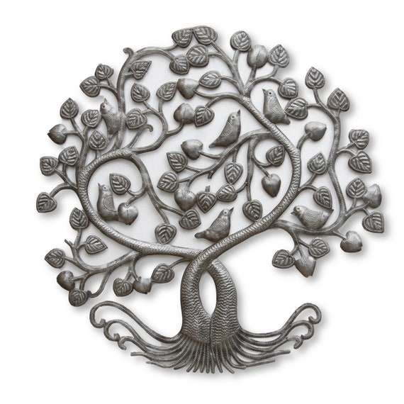 Intertwined Tree of Life Handcrafted in Haiti, One-of-a-Kind Garden Decor 23.5x24