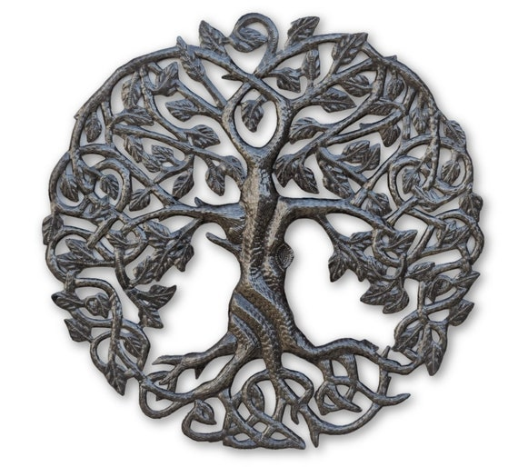 Small Tree of life metal wall decor, Celtic Artwork, Rustic, Contemporary iron decoration, Handmade in Haiti 17.25""