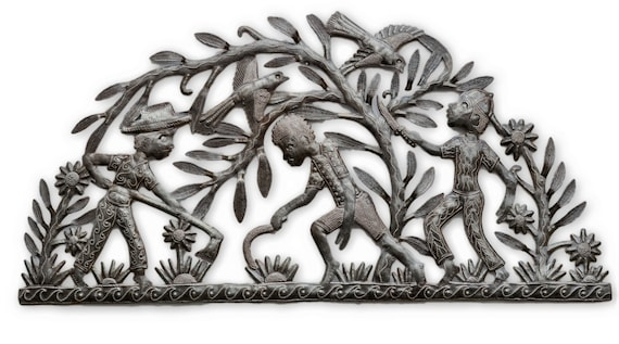 "Haitian Metal Sculpture, Farmers, Inside or outdside home decor 34"" x 17"""