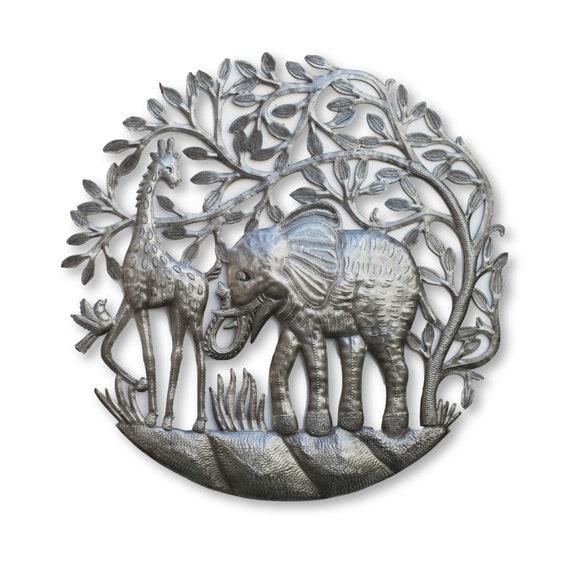 Haitian Safari Home Decor, Elephant & Giraffe Handmade Sculpture, Fair Trade 24x23in.